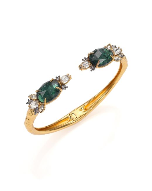 Alexis Bittar   Green Prophecy Crackle Glass & Foil Doublet Cuff Bracelet/goldtone   Lyst