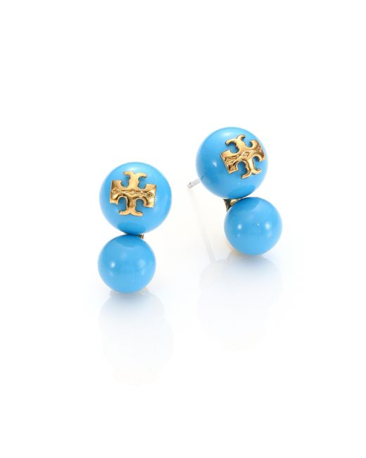 Tory Burch | Blue Evie Double Stud Earrings/goldtone | Lyst
