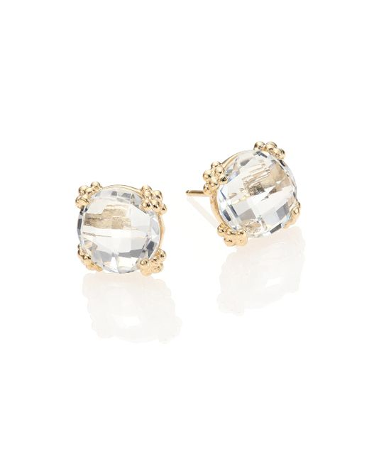 Anzie | Metallic Dew Drop White Topaz & 14k Yellow Gold Stud Earrings | Lyst