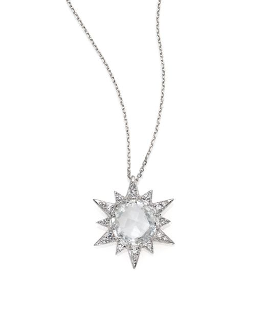 Anzie | Aztec White Topaz, White Sapphire & Sterling Silver Starburst Pendant Necklace | Lyst