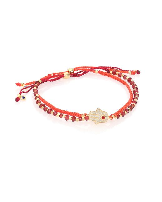Astley Clarke   Red Biography Seize The Moment White Sapphire & Garnet Silken Beaded Bracelet   Lyst