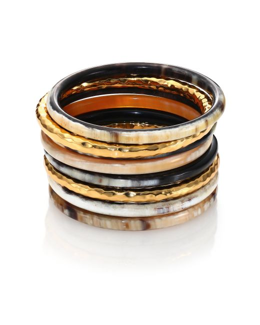 Nest | Metallic Hammered Horn Bangle Bracelet Set | Lyst