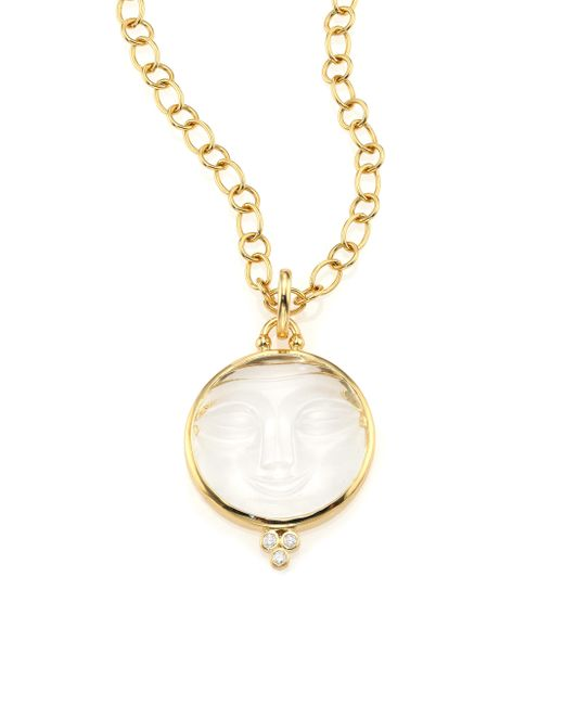 Temple St. Clair | Metallic Celestial Crystal, Diamond & 18k Yellow Gold Moonface Pendant | Lyst