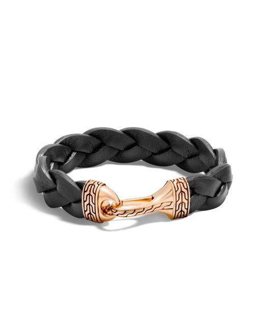 John Hardy   Black Classic Chain Braided Leather Hook Bracelet   Lyst
