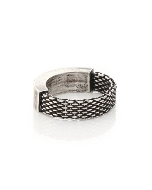 Title Of Work | Metallic Sterling Silver Mesh & Solid Ring for Men | Lyst