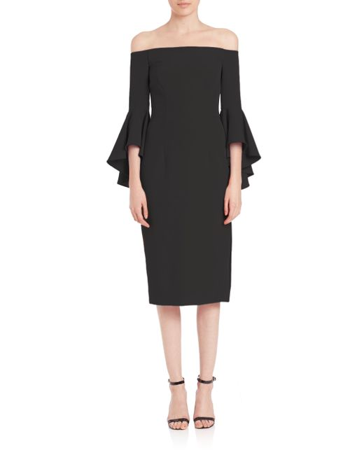 MILLY | Black Selena Italian Cady Bell Sleeve Off-the-shoulder Dress | Lyst