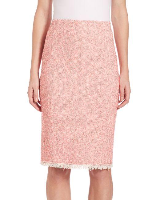 summer tweed pencil skirt in pink lyst