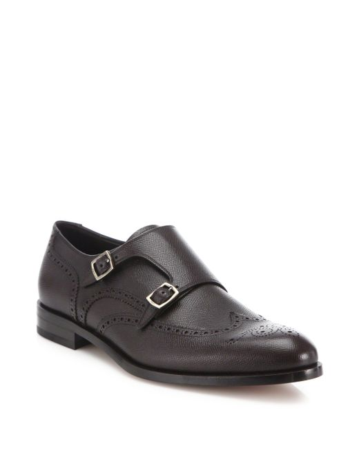 Ferragamo | Black Textured Wingtip Leather Monk Oxfords for Men | Lyst
