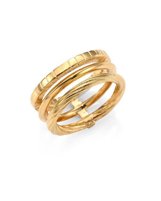 Saint Laurent | Metallic Armure Phalange18k Yellow Gold Vermeil Midi Ring | Lyst