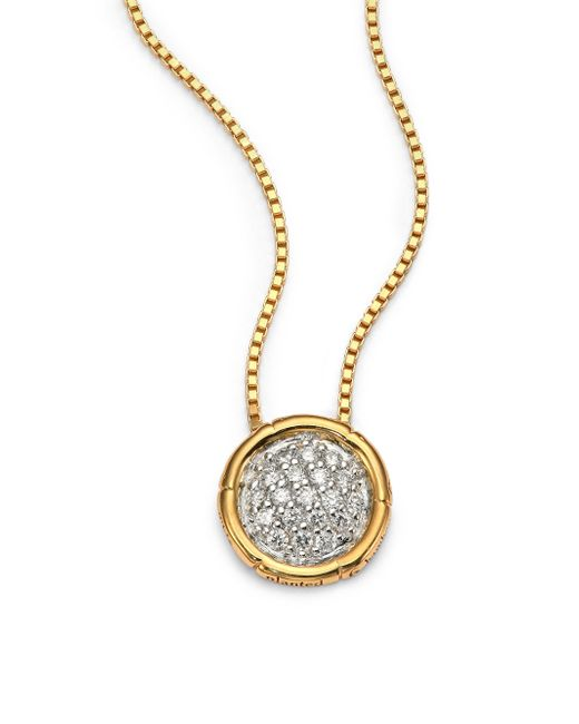 John Hardy | Metallic Bamboo Diamond & 18k Yellow Gold Small Round Pendant Necklace | Lyst