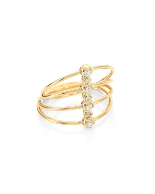 Mizuki | Metallic Diamond & 14k Yellow Gold Four-band Ring | Lyst