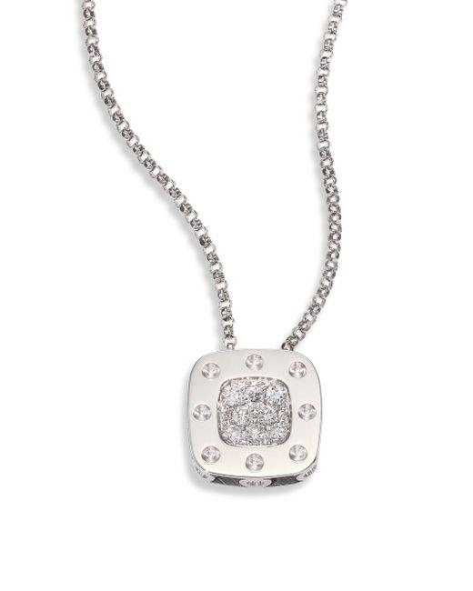 Roberto Coin | Metallic Diamond & 18k White Gold Pendant Necklace | Lyst