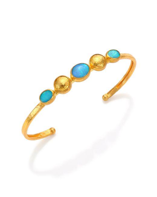 Gurhan   Amulet Hue Blue Opal & 24k Yellow Gold Cuff Bracelet   Lyst