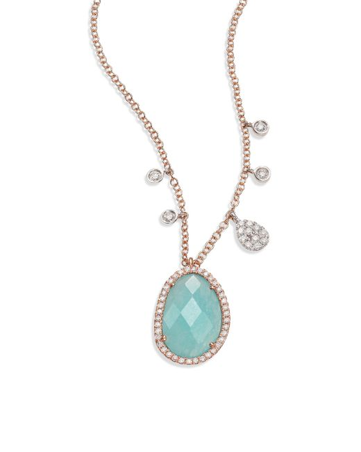 Meira T | Metallic Light Amazonite, Diamond, 14k Rose Gold & 14k White Gold Pendant Necklace | Lyst