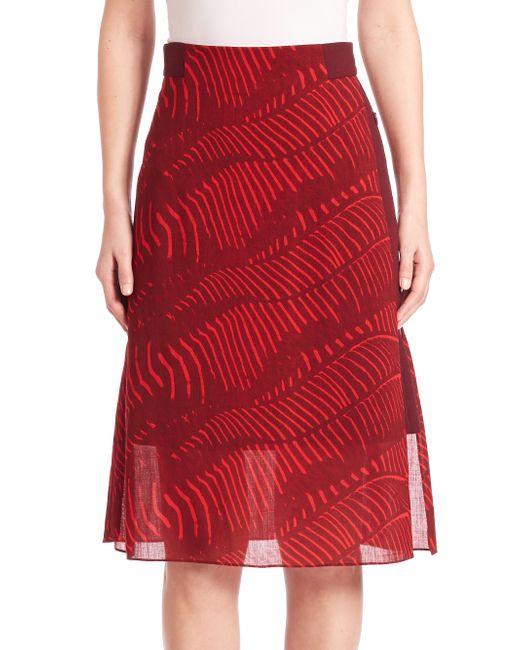 akris printed wool a line skirt lyst