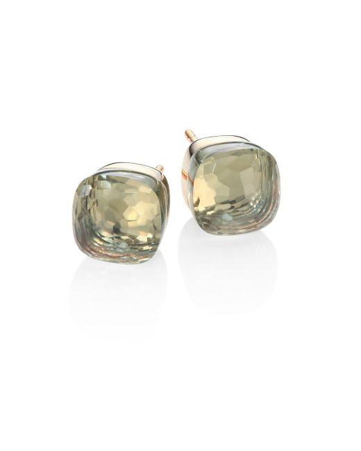 Pomellato | Green Prasiolite, 18k Rose & White Gold Stud Earrings | Lyst