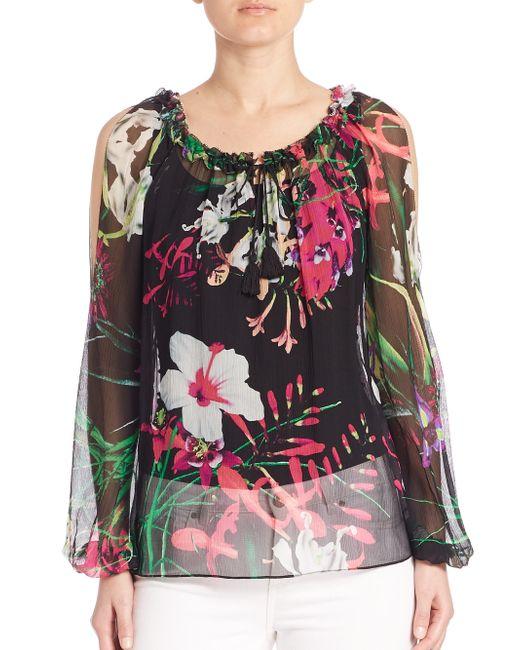 Elie Tahari   Black Mazy Silk Floral-print Blouse   Lyst