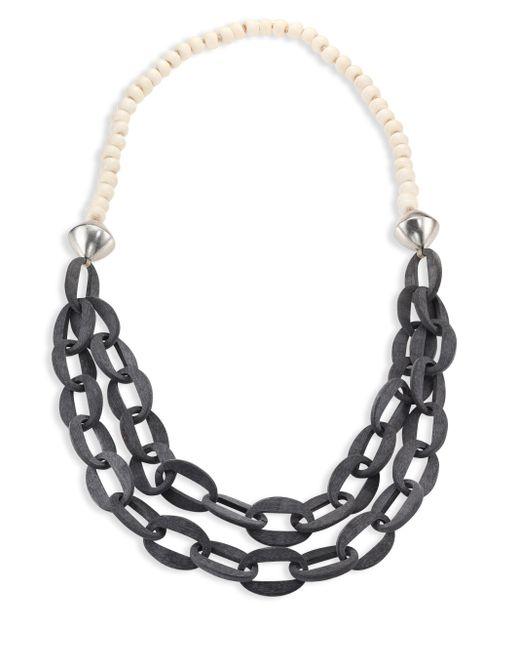 Nest | Metallic Horn & Bone Beaded Double-strand Link Necklace | Lyst
