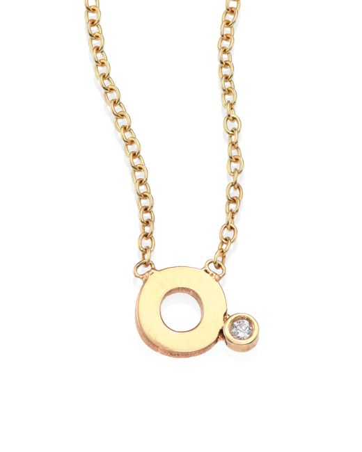 zoe chicco 14k yellow gold initial pendant