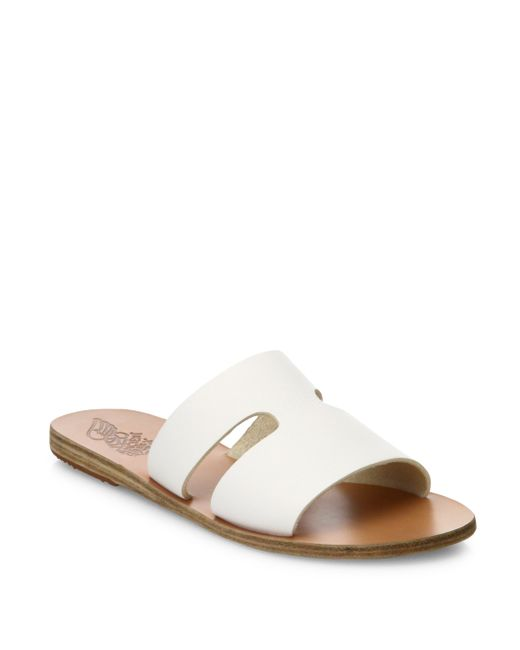 Ancient Greek Sandals Apteros Leather Flat Slides In White