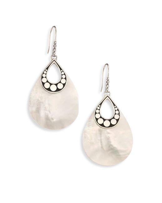 John Hardy   Metallic Dot Mother-of-pearl & Sterling Silver Drop Earrings   Lyst
