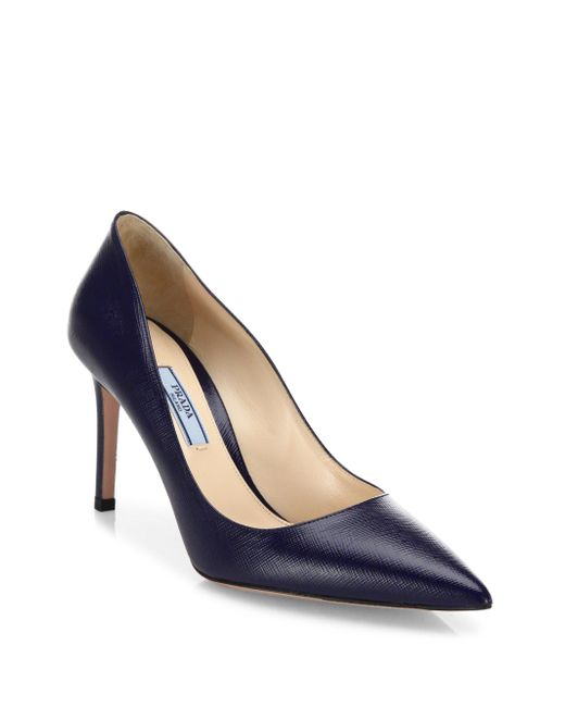 Prada | Blue Saffiano Leather Point Toe Pumps | Lyst