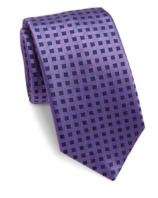 Saks Fifth Avenue | Purple Basketweave Silk Tie for Men | Lyst