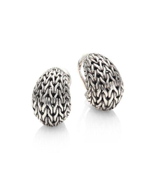 John Hardy | Metallic Classic Chain Sterling Silver Huggie Earrings | Lyst