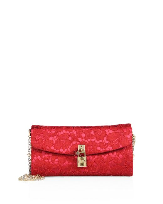 Dolce & Gabbana | Red Metallic Paillette-embellished Clutch | Lyst