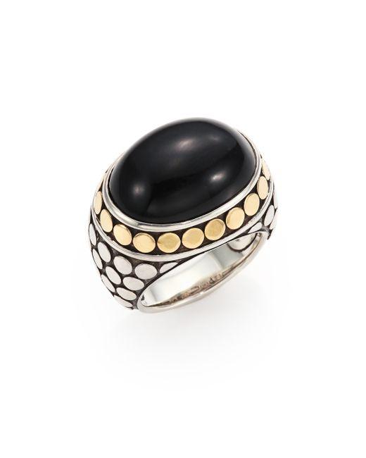 John Hardy | Metallic Batu Dot Onyx, 18k Yellow Gold & Sterling Silver Dome Ring | Lyst