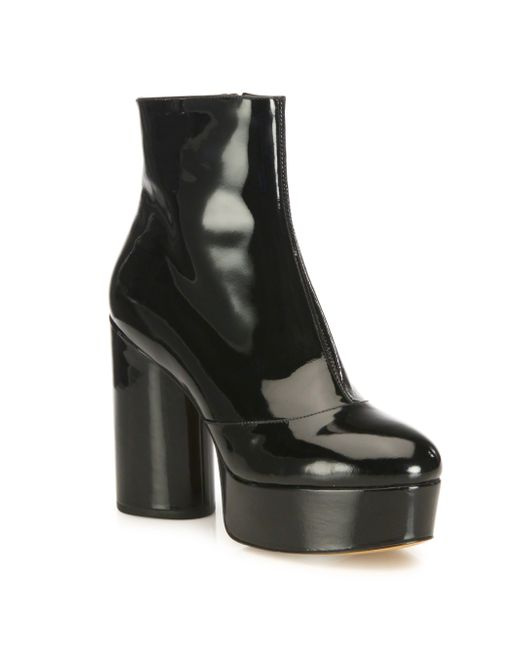 Marc Jacobs Amber Patent Leather Platform Boots In Black