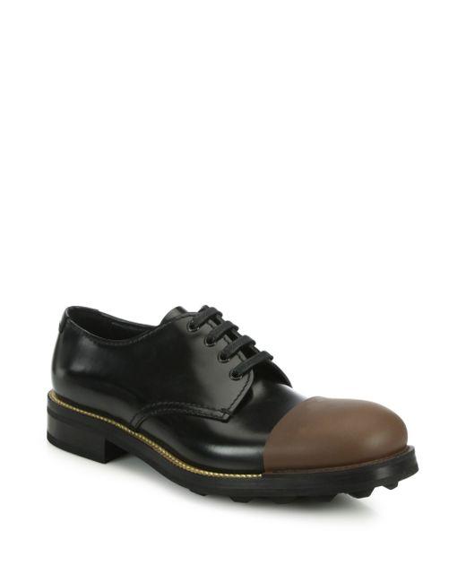 prada bicolor cap toe leather dress shoes in brown for men