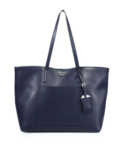 Prada | Blue City Leather Tote | Lyst