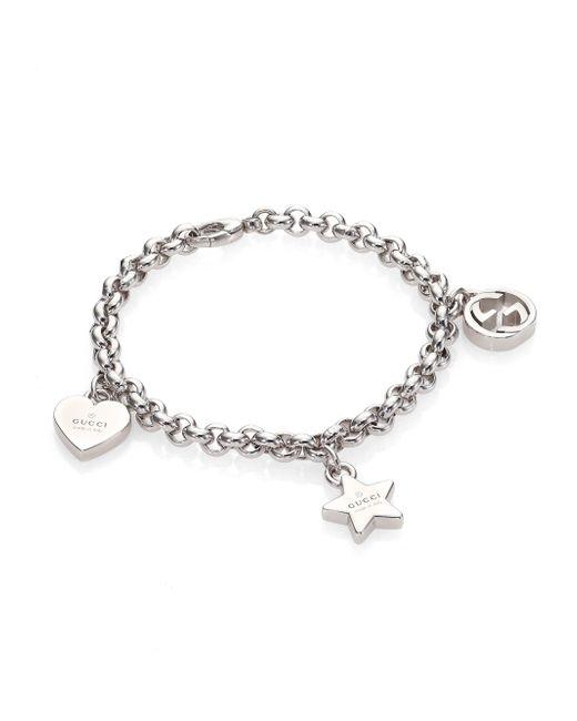 Gucci   Metallic Sterling Silver Charm Bracelet   Lyst