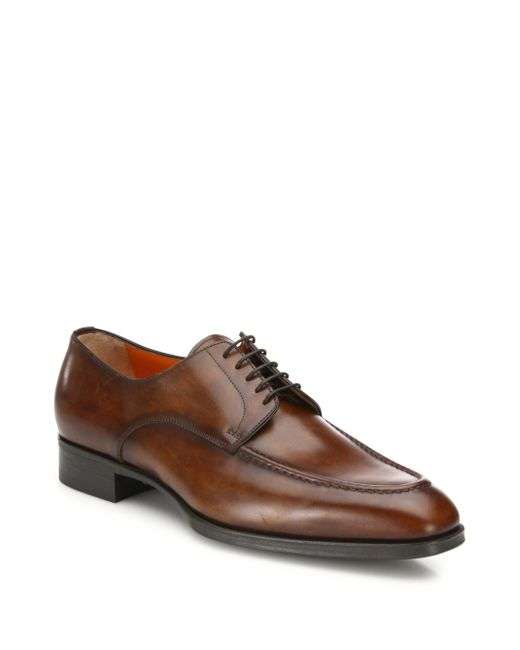santoni leather lace up dress shoes in brown for lyst