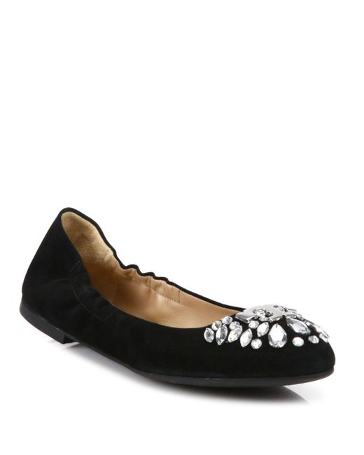 Tory Burch | Black Delphine Crystal & Suede Ballet Flats | Lyst