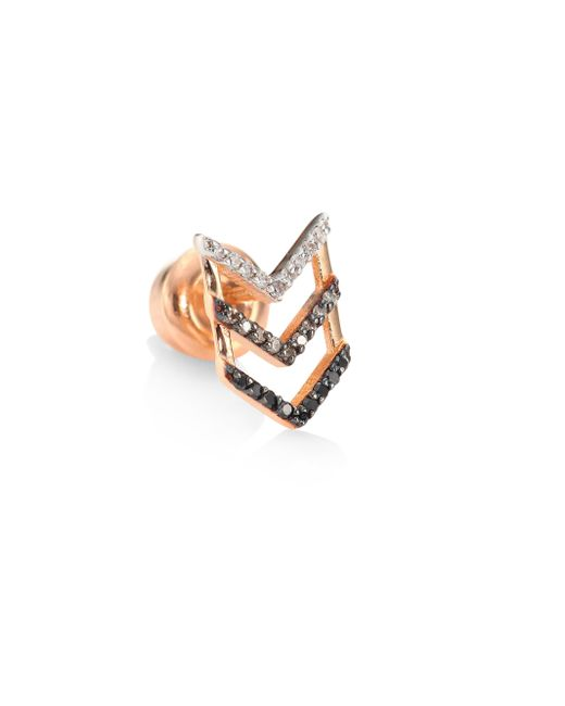 Kismet by Milka | Multicolor Trio Chevron Diamond & 14k Rose Gold Single Stud Earring | Lyst
