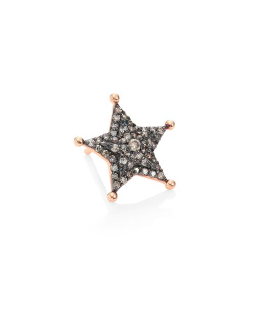 Kismet by Milka   Multicolor Sheriff Star Diamond & 14k Rose Gold Single Stud Earring   Lyst
