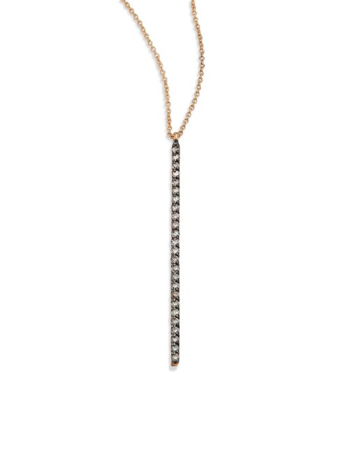 Kismet by Milka | Metallic Lumiere Champagne Diamond & 14k Rose Gold Pendant Necklace | Lyst