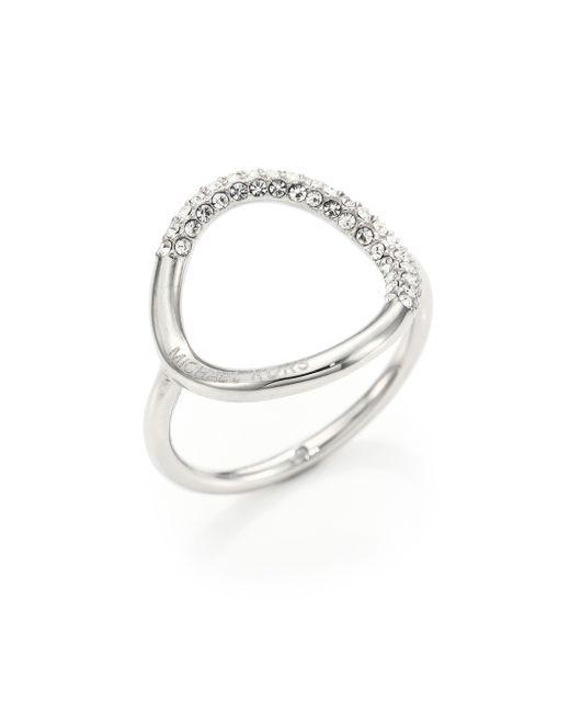 Michael Kors   Metallic Pave Circle Ring/silvertone   Lyst