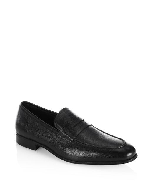 Ferragamo | Black Fiorino 2 Textured Leather Penny Loafers for Men | Lyst