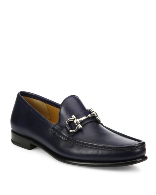 Ferragamo | Blue Mason Leather Loafers for Men | Lyst