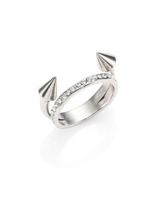 Vita Fede | Metallic Ultra Mini Titan Crystal Double-band Ring/silvertone | Lyst