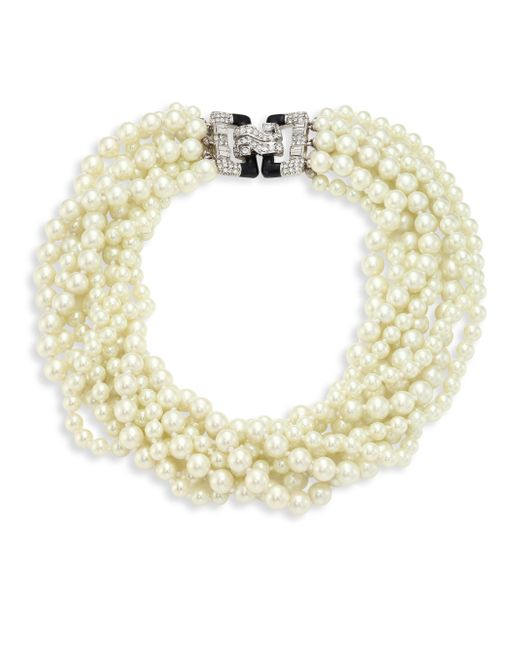 Kenneth Jay Lane   Metallic Eight Strand Faux-pearl Necklace   Lyst