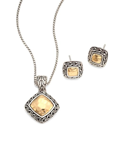 John Hardy   Metallic Classic Chain Hammered 18k Yellow Gold Pendant Necklace & Stud Earring Heritage Gift Box Set   Lyst