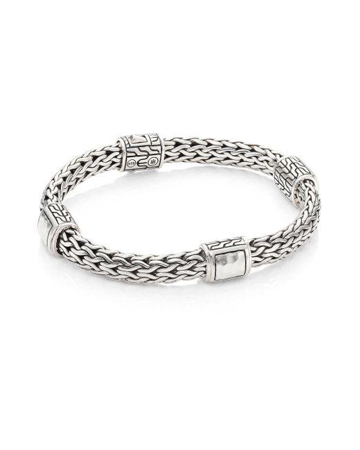 John Hardy | Metallic Classic Chain Hammered Silver Medium Four Station Bracelet | Lyst