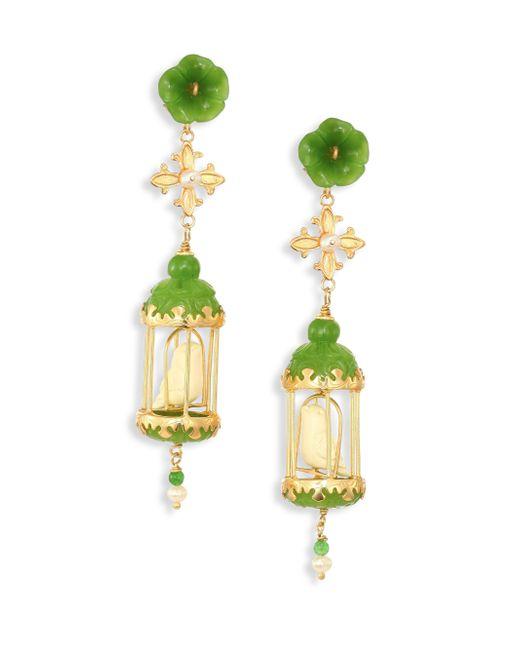 Of Rare Origin | Multicolor Aviary Classic Jade, Bone & Freshwater Pearl Earrings | Lyst