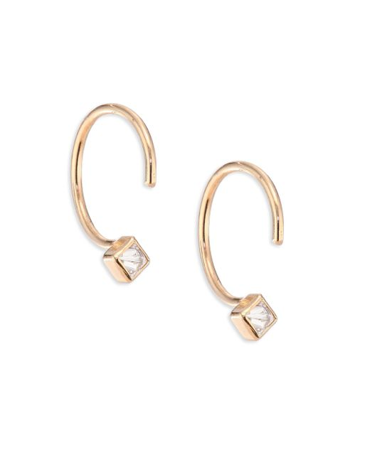 Zoe Chicco | Metallic Diamond & 14k Yellow Gold Reverse Hoop Earrings/0.4 | Lyst