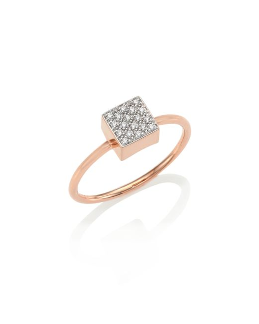 Ginette NY   Metallic Baby Diamond Ever 18k Rose Gold Square Ring   Lyst