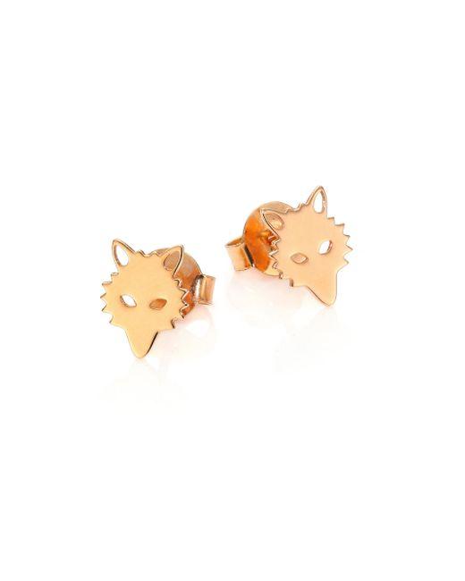 Ginette NY | Metallic Wolf 18k Rose Gold Stud Earrings | Lyst